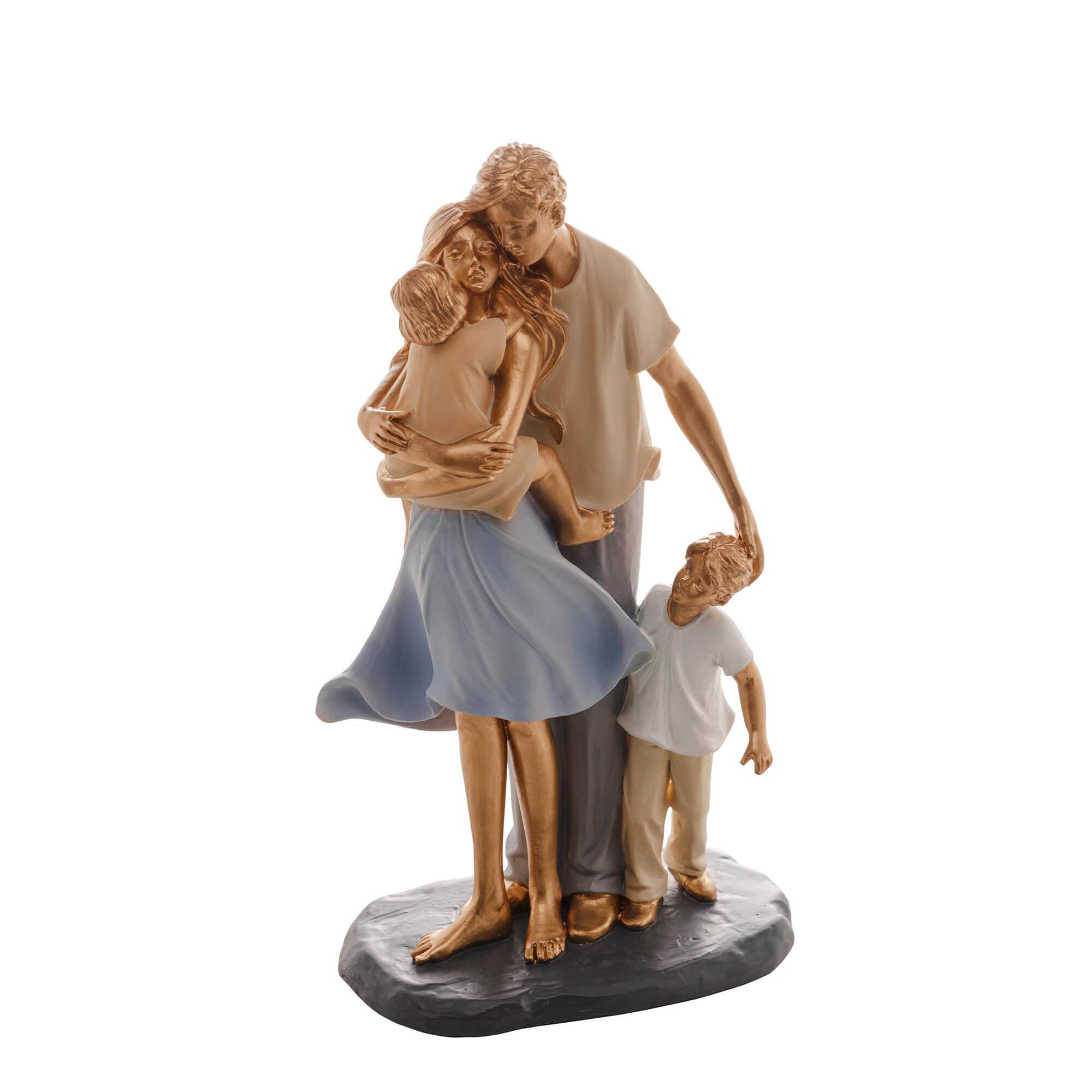 Escultura Família Decorativa em Resina Ouro Mãe, Pai e Casal de Filhos