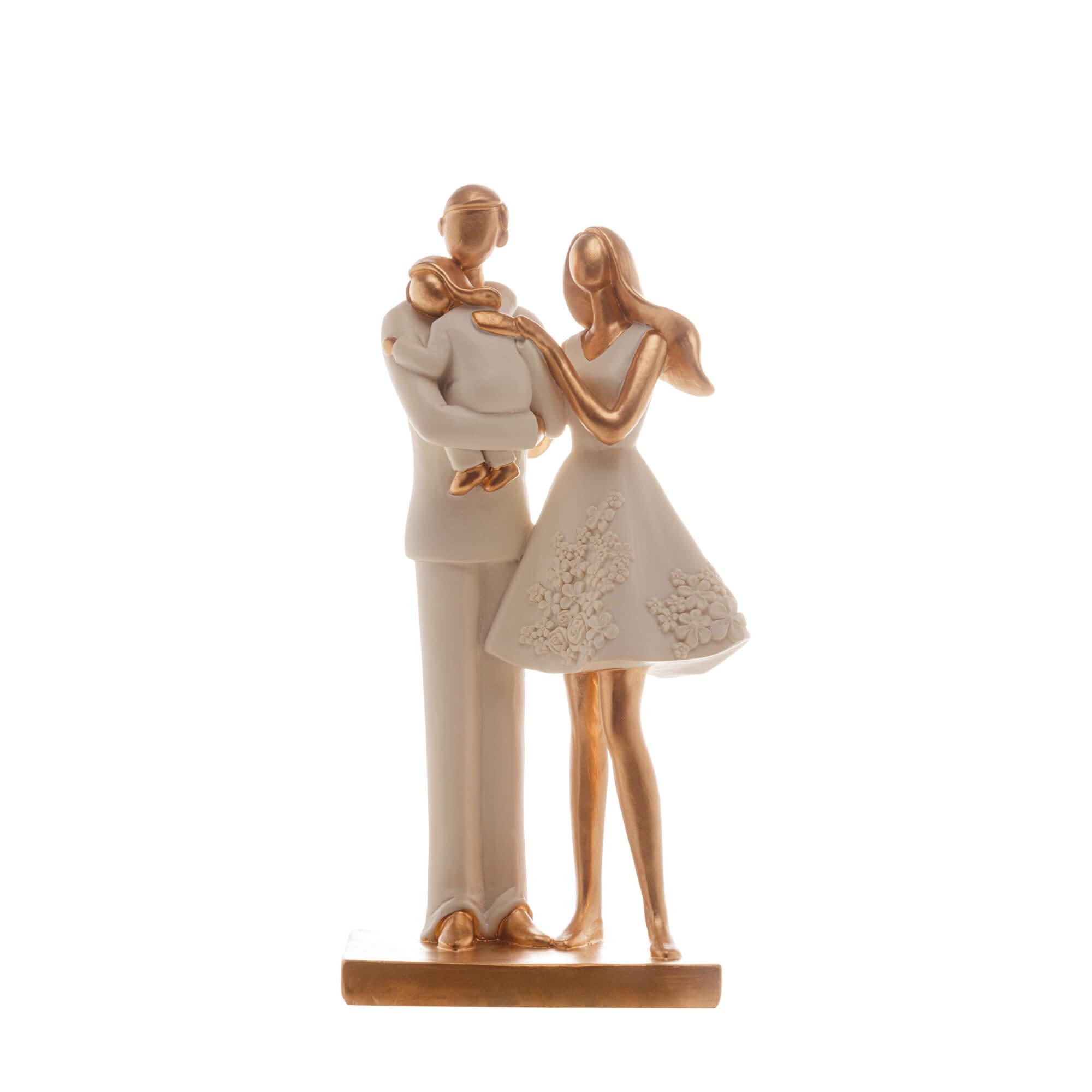 Escultura Família Decorativa em Resina Ouro Mãe, Pai e Filha no Colo