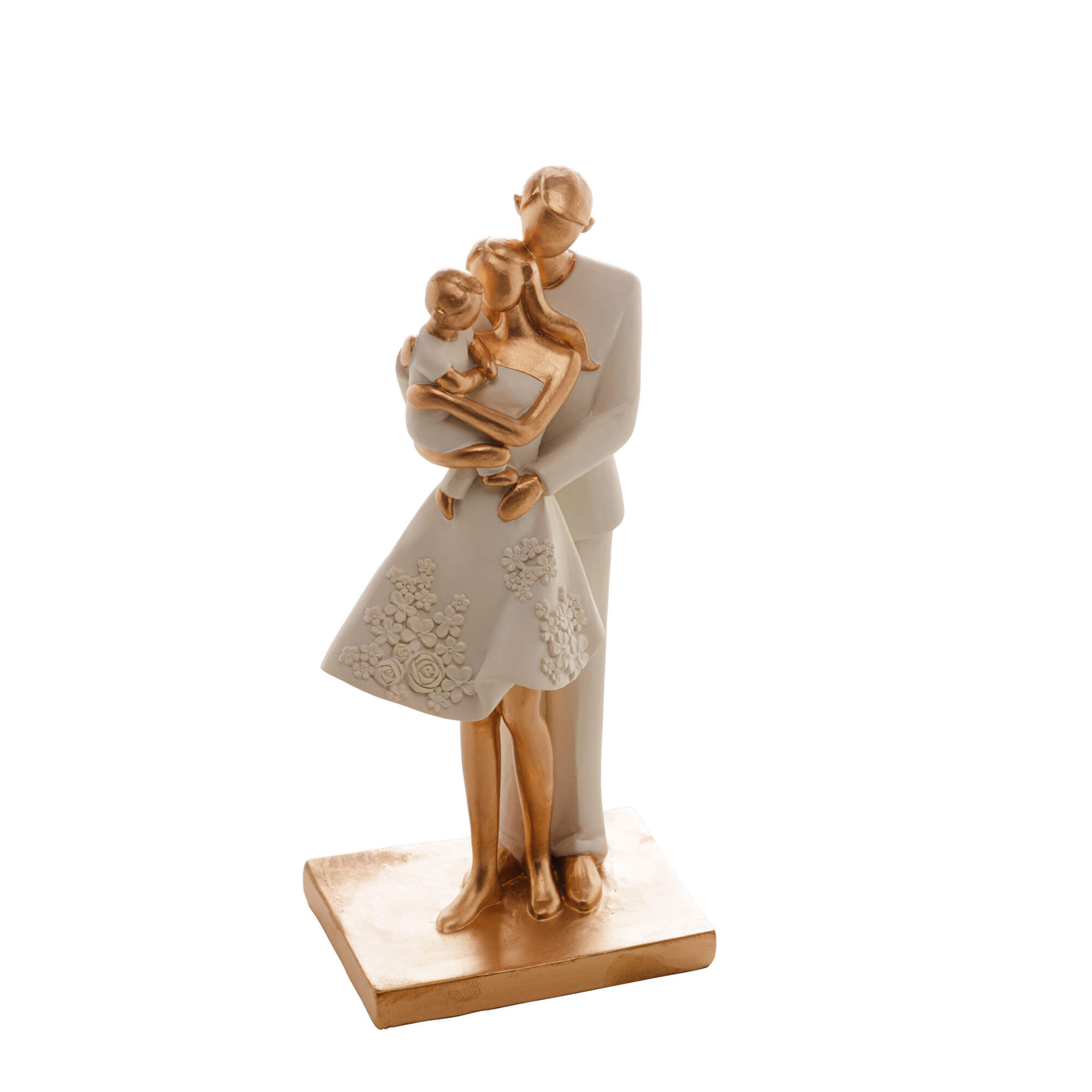 Escultura Família Decorativa em Resina Ouro Mãe, Pai e Filho