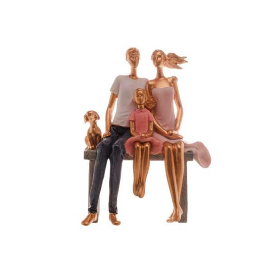Escultura Família Decorativa em Resina Ouro Sentados com Cachorro