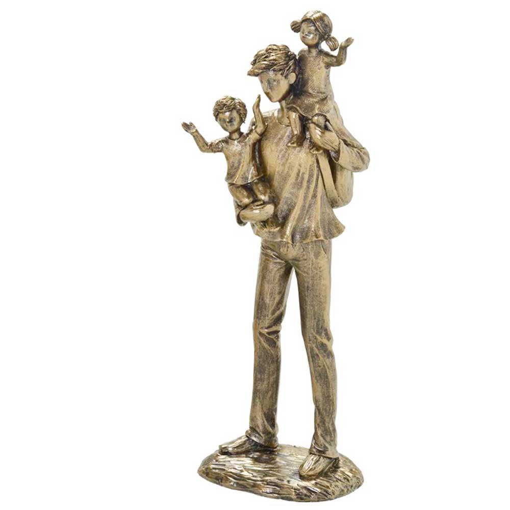 Escultura Família Decorativa em Resina Pai com Filhos