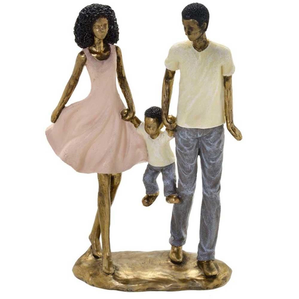 Escultura Família Decorativa Negra em Resina Dourada Casal com Menino
