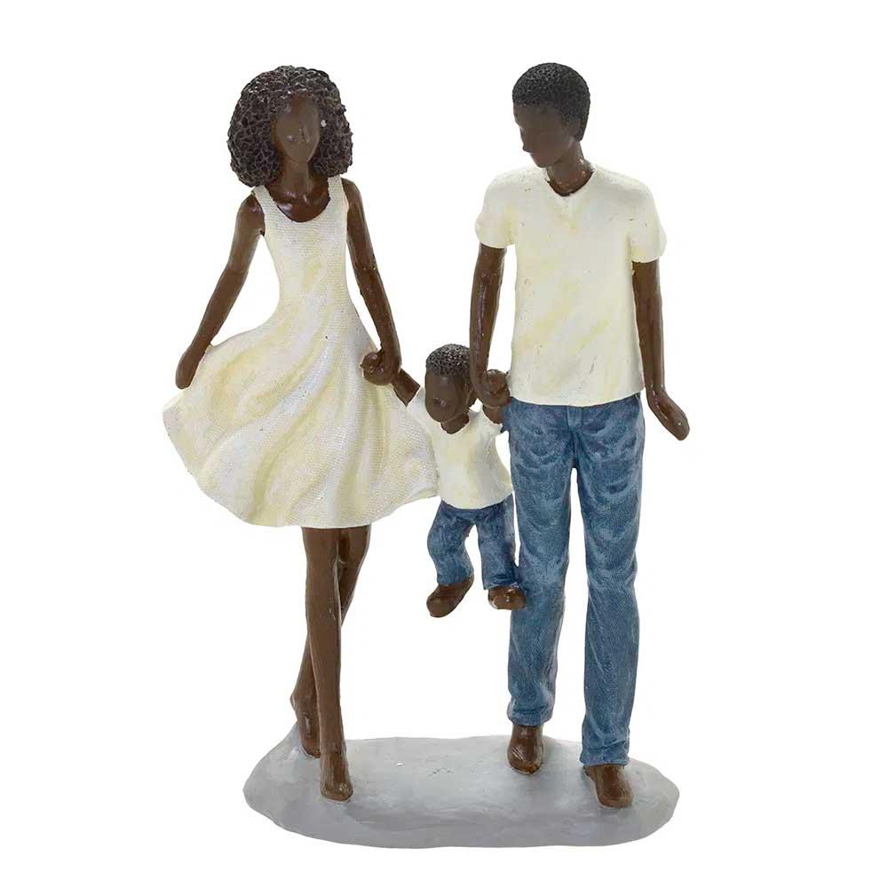 Escultura Família Decorativa Negra em Resina Casal com Menino