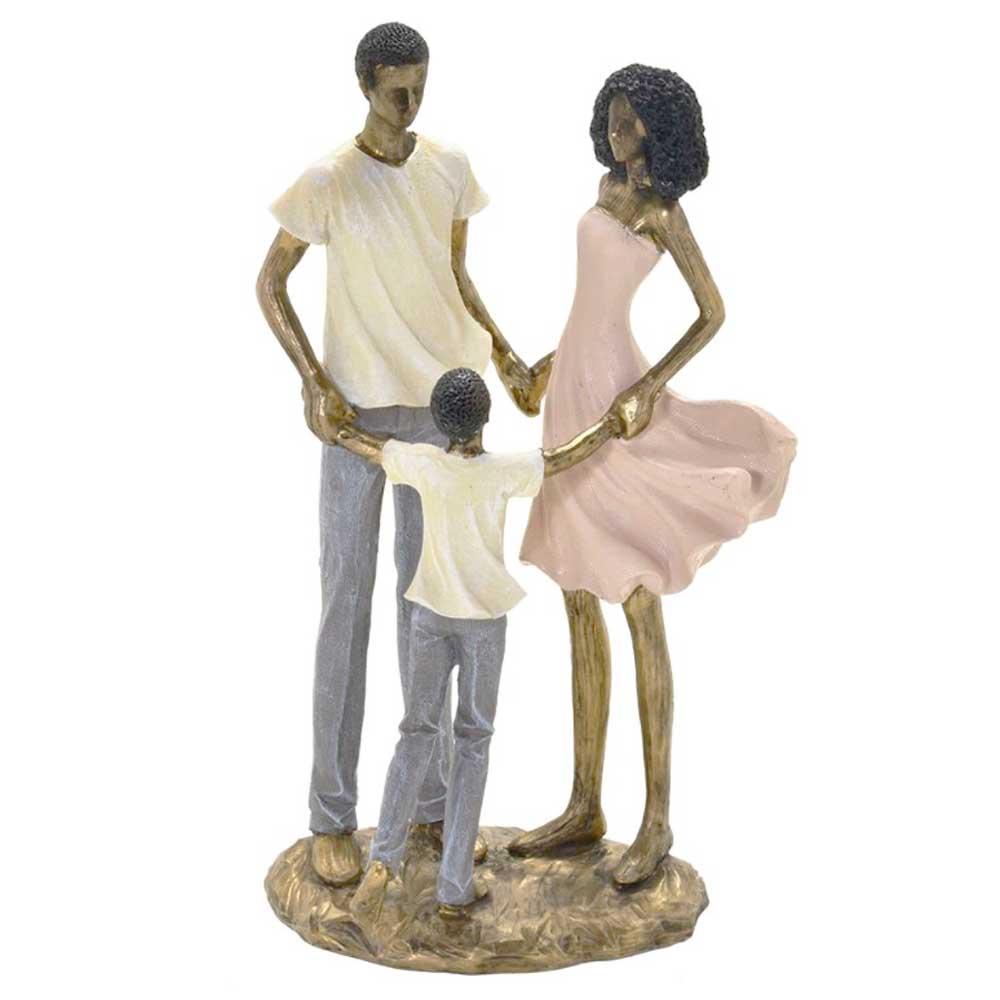 Escultura Família Decorativa Negra em Resina Dourada Casal e Menino