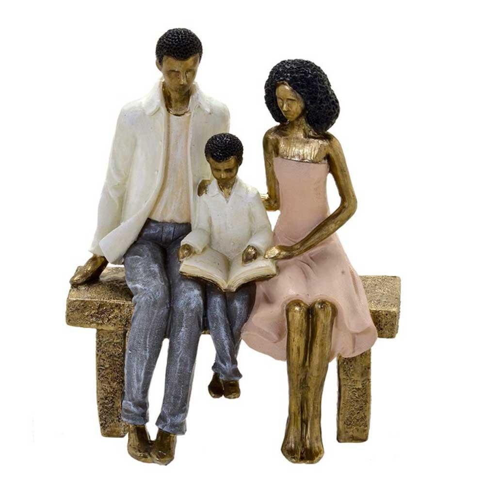 Escultura Família Decorativa Negra em Resina Dourada Momento Leitura