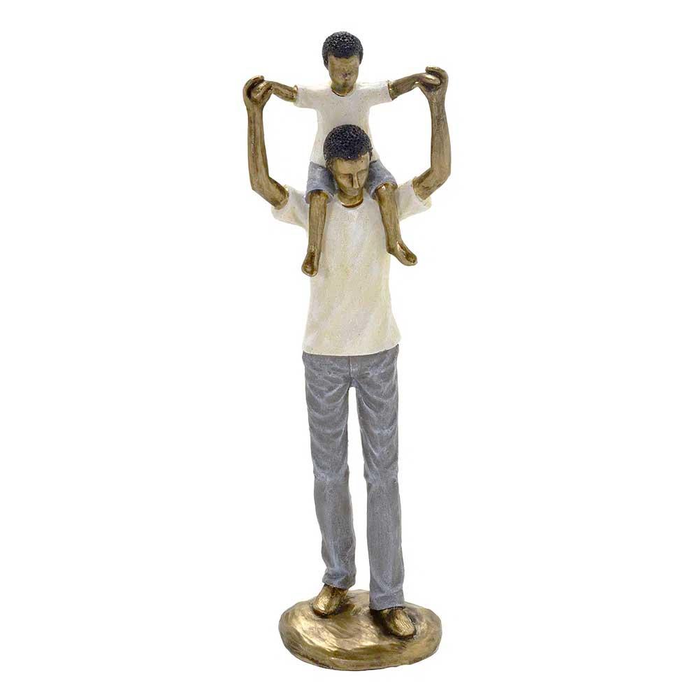 Escultura Família Decorativa Negra em Resina Dourada Pai e Filho