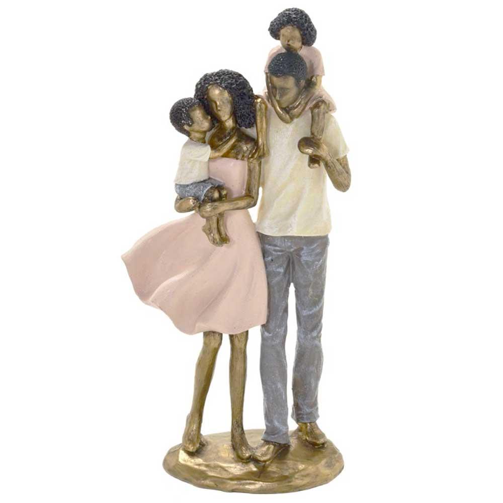 Escultura Família Decorativa Negra em Resina Dourada Pai, Mãe e Casal de Filhos