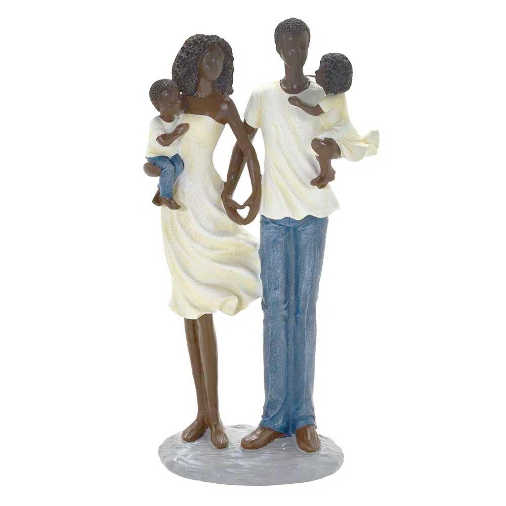 Escultura Família Decorativa Negra em Resina Mãe, Pai e Filhos no Colo