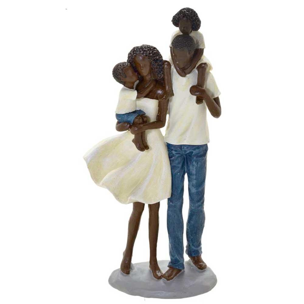 Escultura Família Decorativa Negra em Resina Pai, Mãe e Casal de Filhos