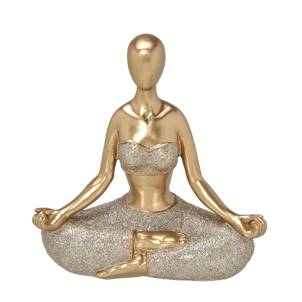 Escultura Mulher Decorativa em Resina Dourada Yoga em Posição Lótus