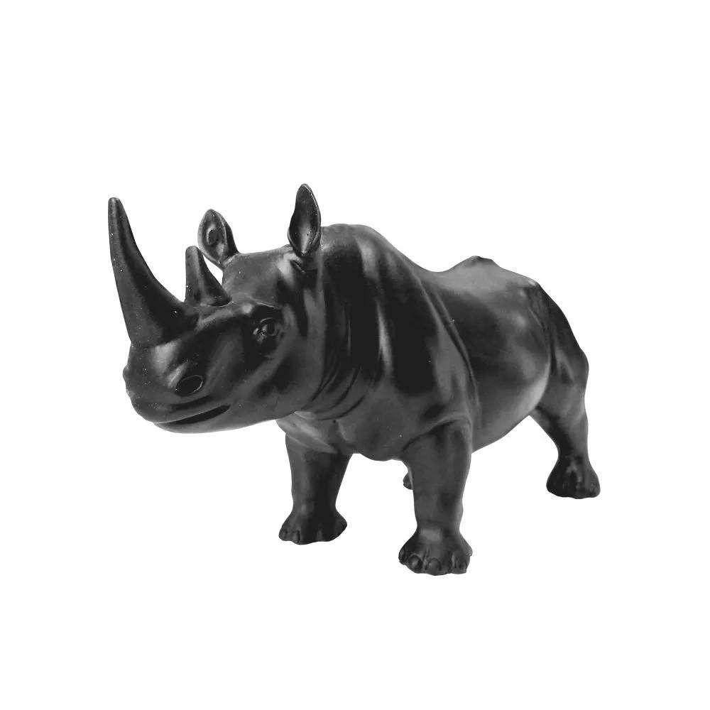 Escultura Rinoceronte Decorativa em  Resina Preto
