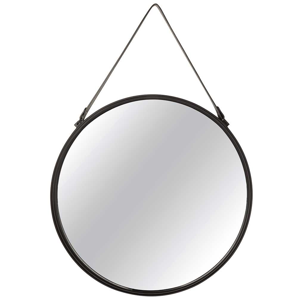 Espelho Redondo de Parede em Metal Preto