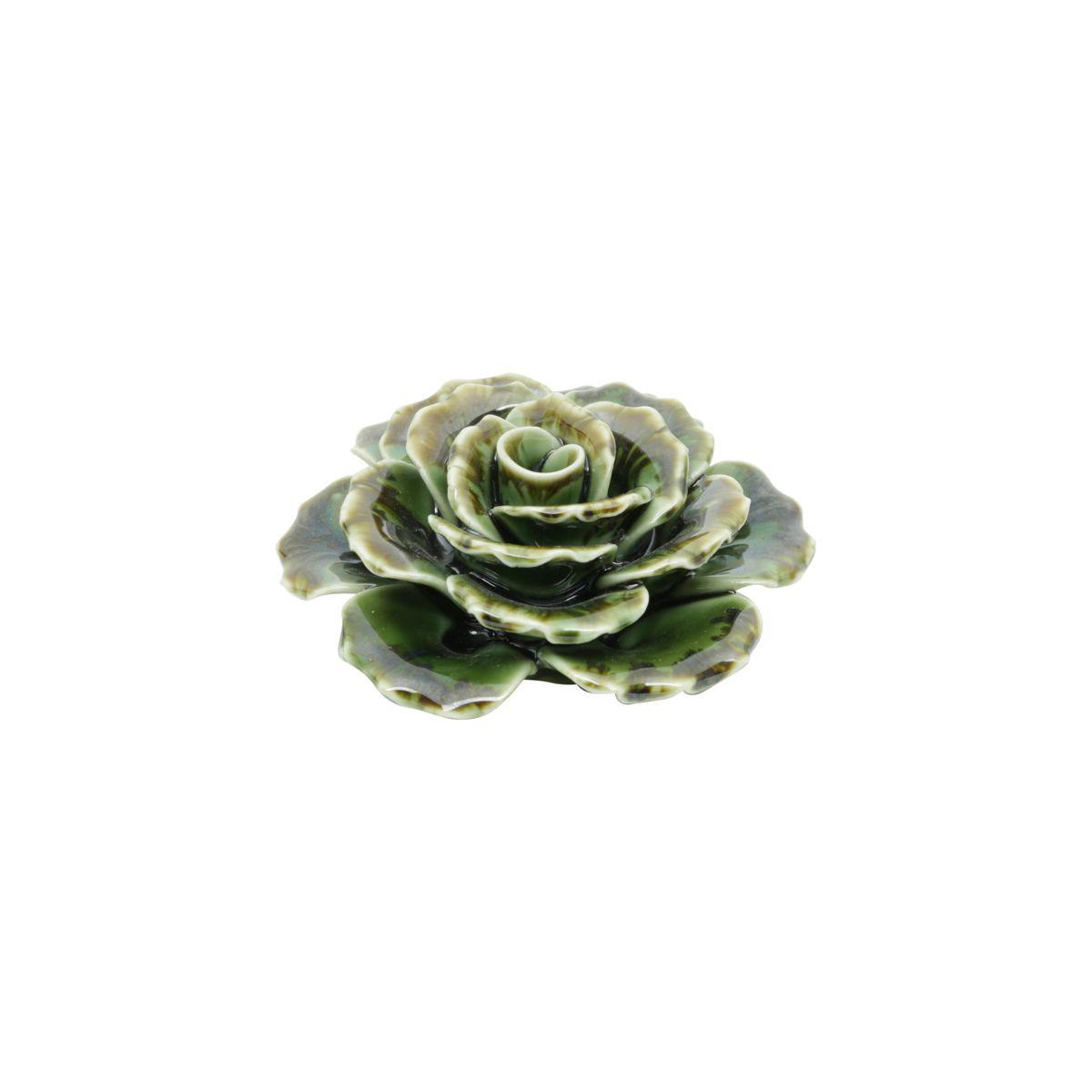 Flor Decorativa de Cerâmica Verde Suculents