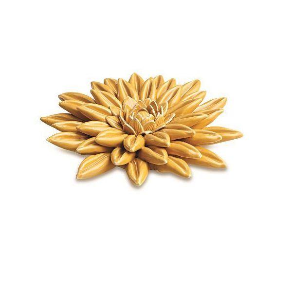 Flor Decorativa em Cerâmica Amarela 14cm