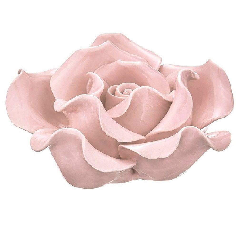 Flor Decorativa em Cerâmica Rosa