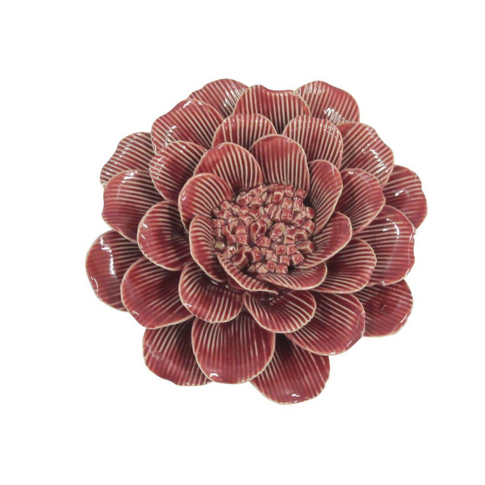 Flor Decorativa em Cerâmica Vermelha 16cm
