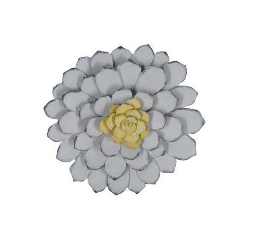 Flor Decorativa em Resina Azul 24cm