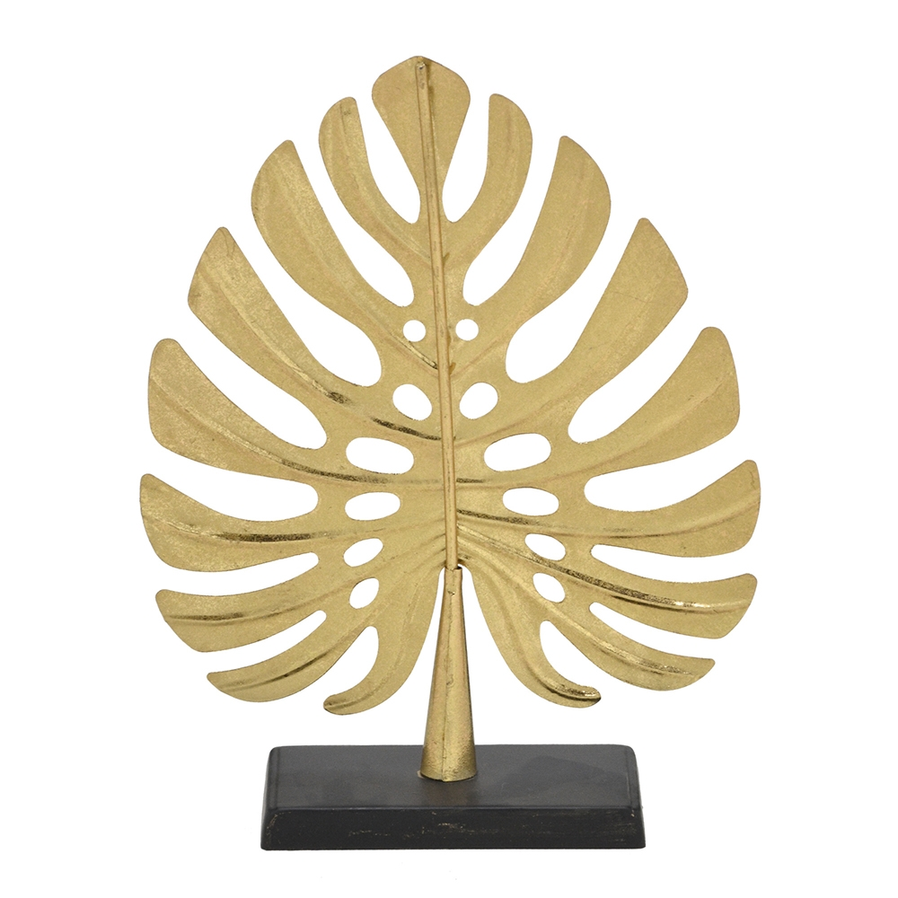 Folha Decorativa em Metal Dourado