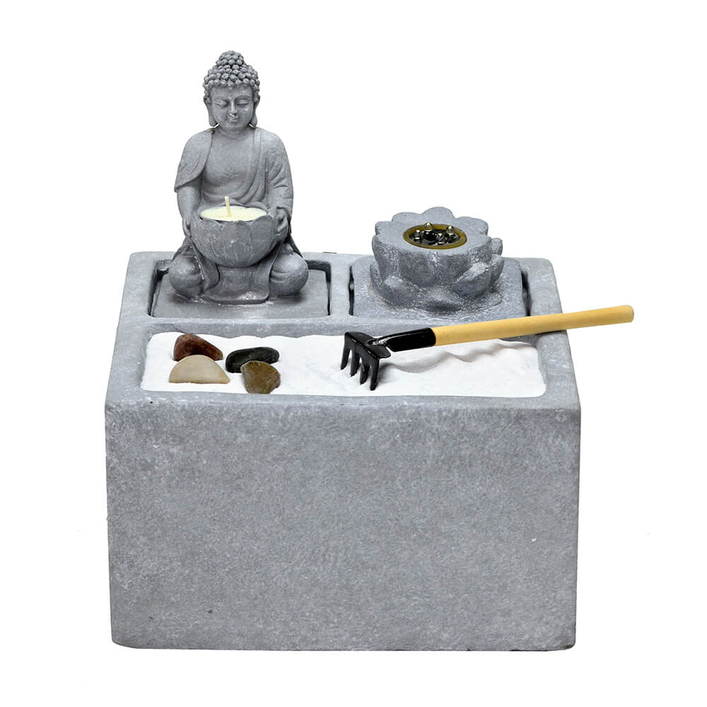 Fonte de Água Decorativa com Led Buda Cimento 28cm 110V