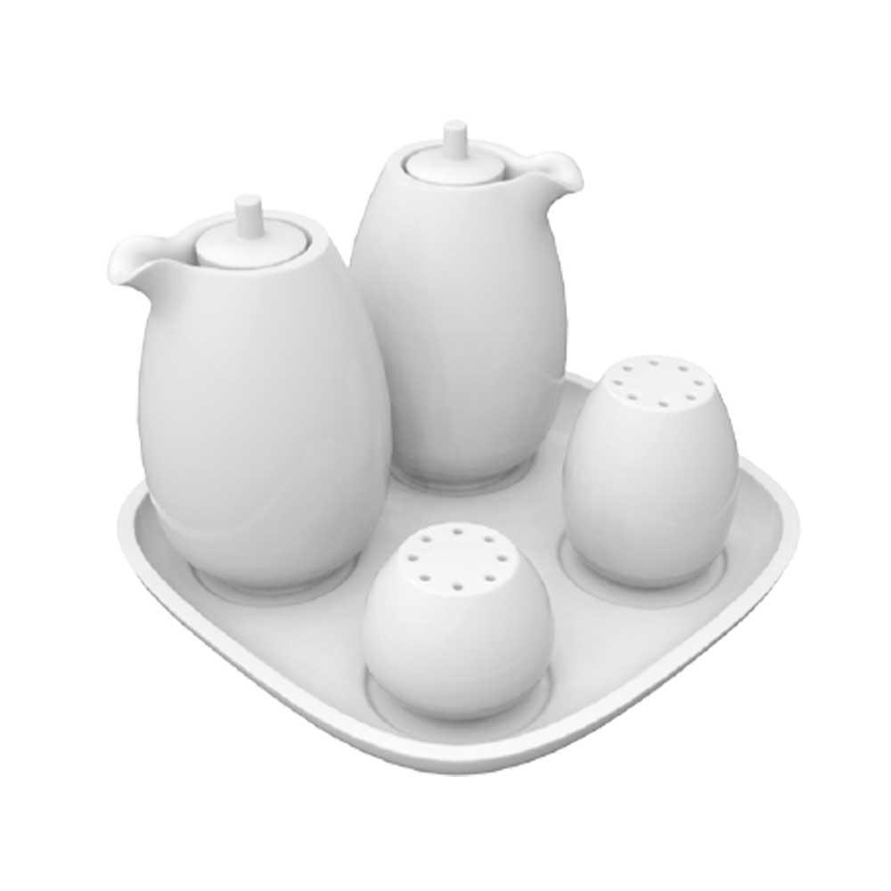 Galheteiro de Porcelana Branca Bold 5 Peças Germer Porcelanas