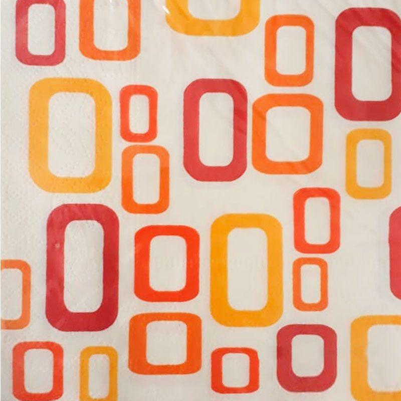 Guardanapo De Papel Decorado Mosaico Vermelho e Laranja