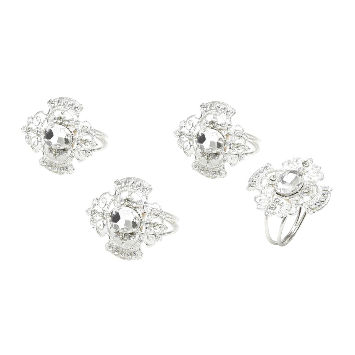 Jogo 4 anéis Para Guardanapo de Ferro Fundido Niquelado Oval Diamond
