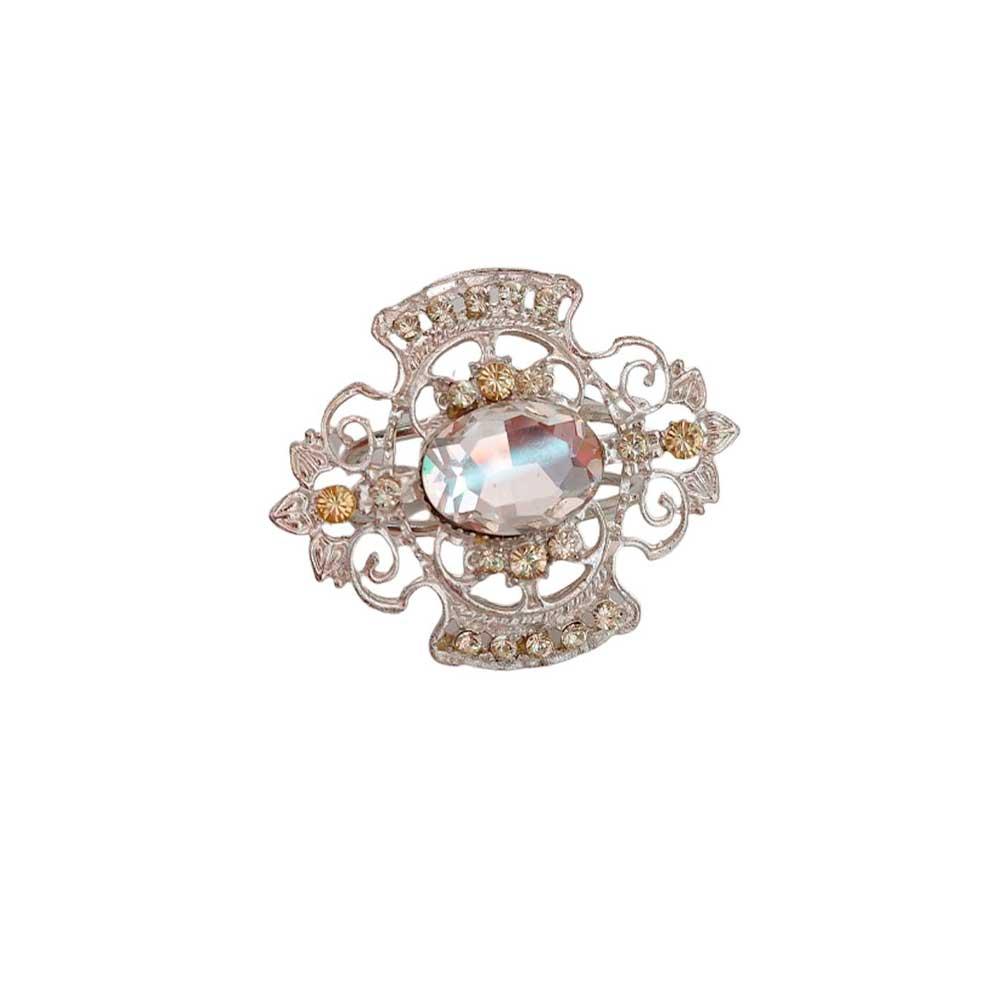 Jogo 4 anéis Para Guardanapo de Ferro Fundido Niquelado Oval Diamond Ambar