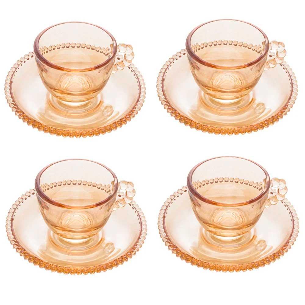 Jogo 4 Xícaras de Café com Pires de Cristal Pearl Âmbar 80ml Wolff