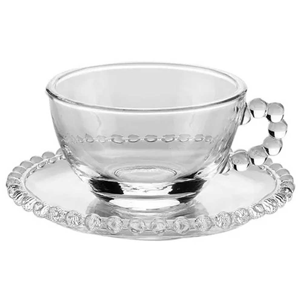 Jogo 4 Xícaras de Chá com Pires de Cristal Pearl 180ml Wolff