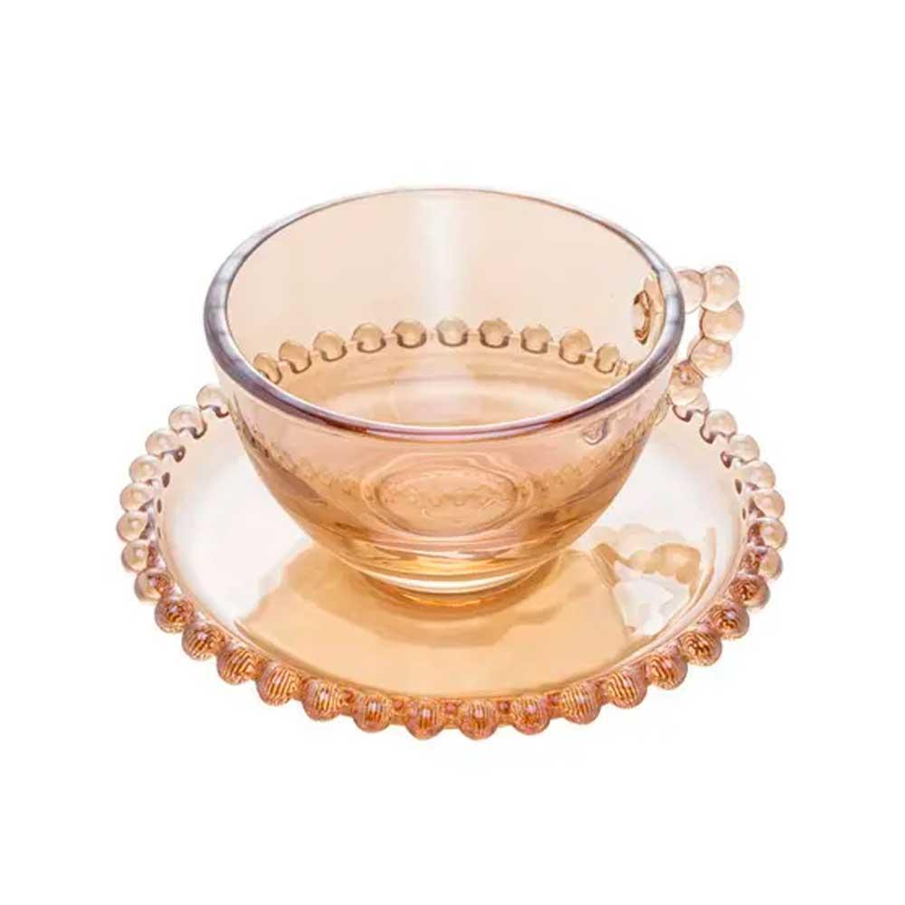 Jogo 4 Xícaras de Chá com Pires de Cristal Pearl Âmbar 180ml Wolff