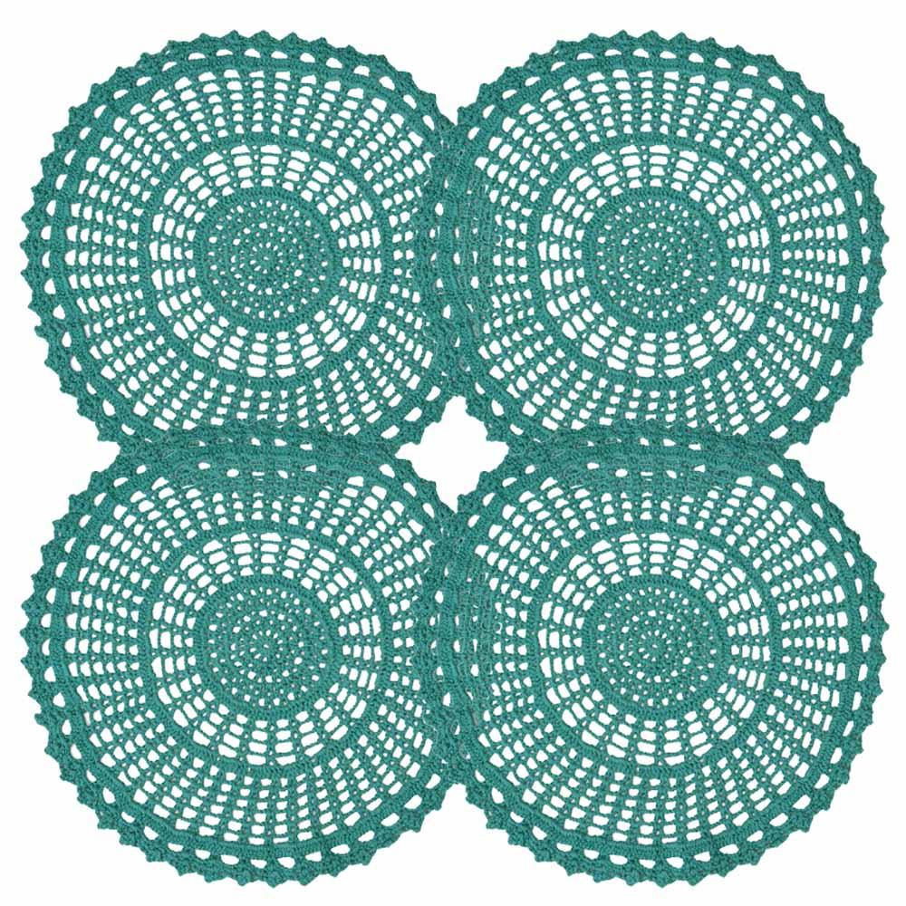 Kit Sousplat 4 Peças Crochê Azul Tiffany 33cm
