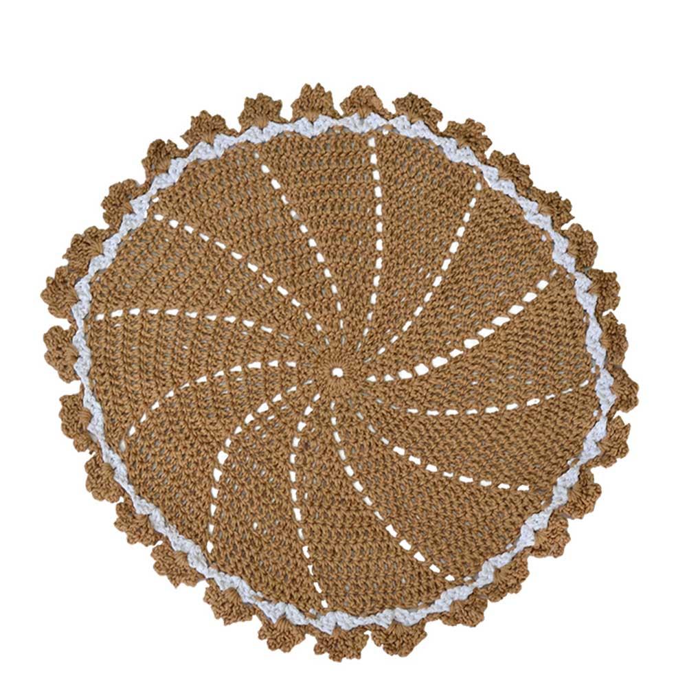 Jogo Americano Crochê Barroco Bege 42cm
