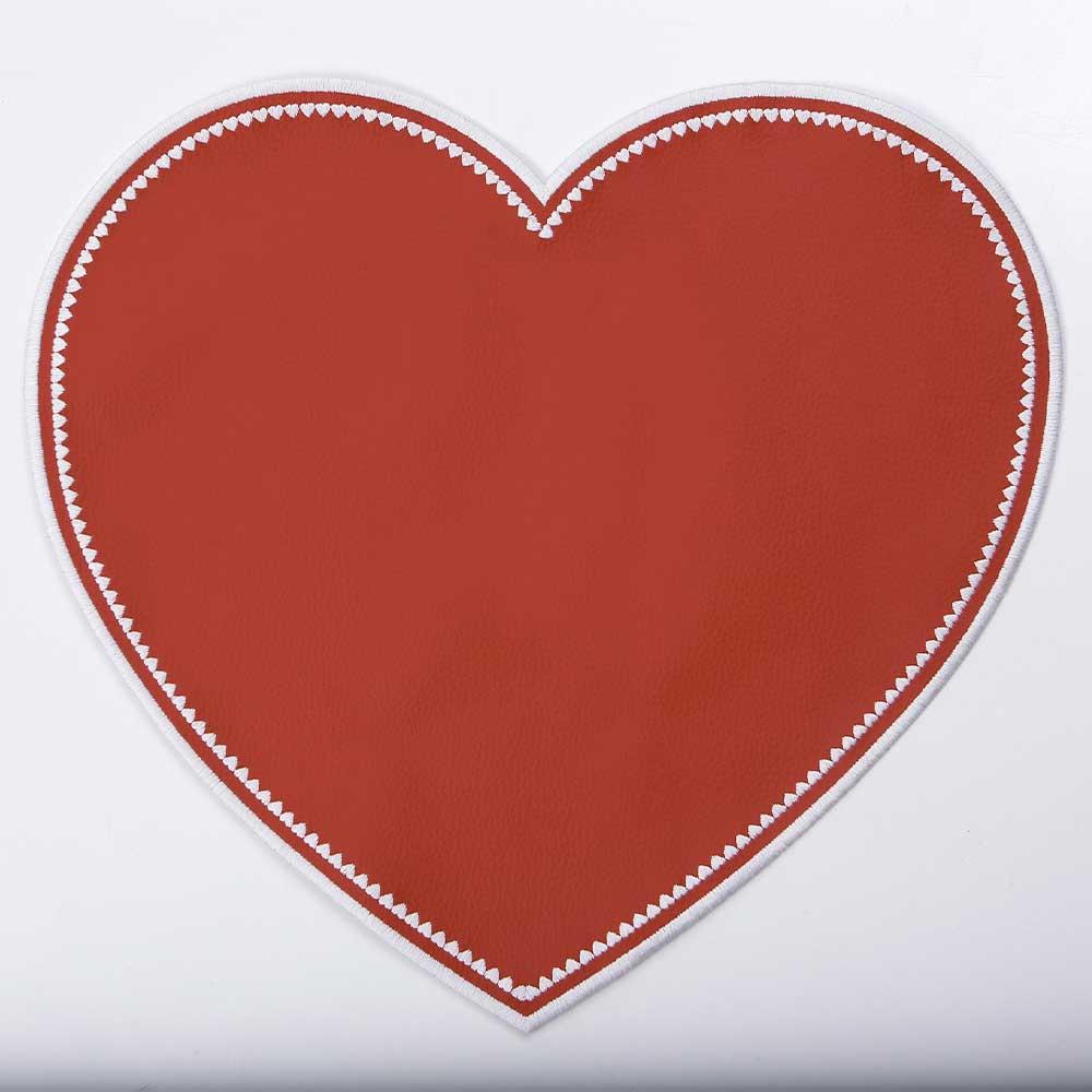 Jogo Americano em Couro Sintético Coração Vermelho