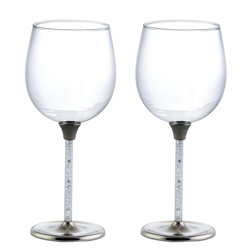 Jogo com 2 Taças de Vidro e Metal para Vinho