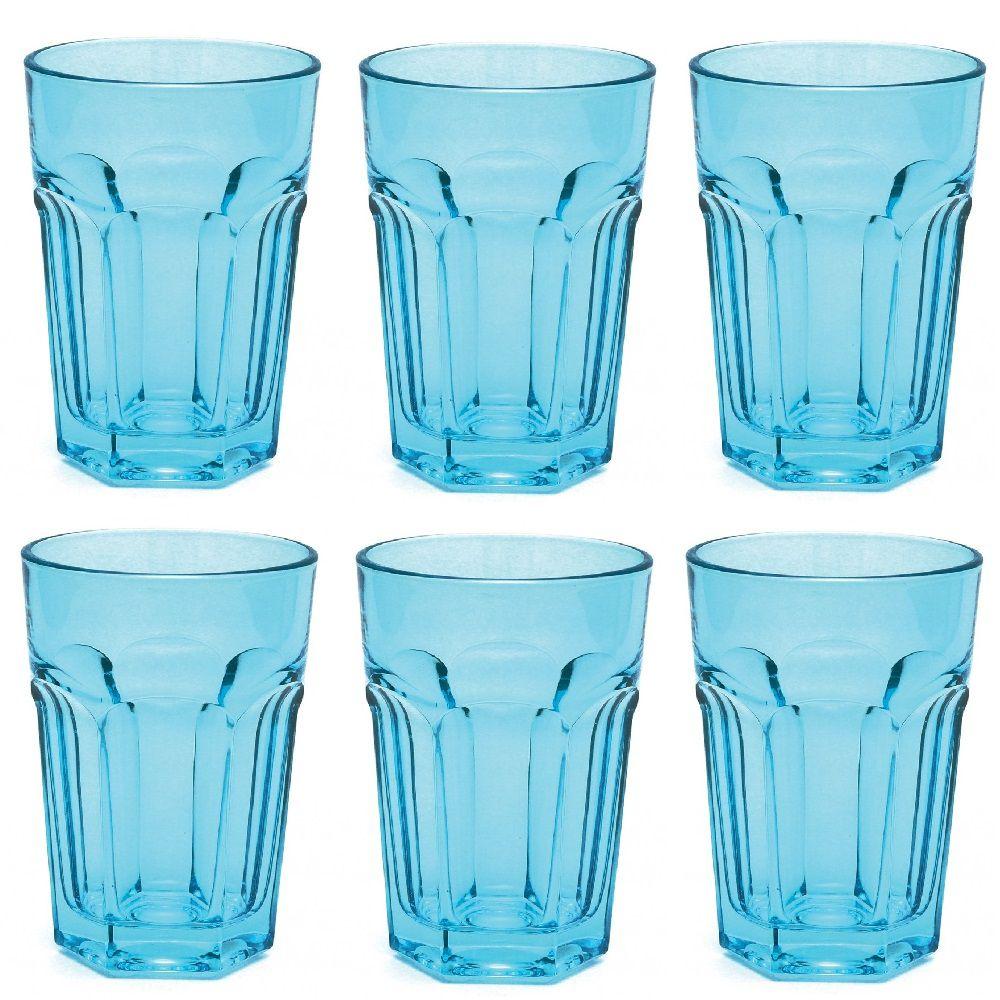 Jogo com 6 Copos Country Long Drink em Vidro Azul 400ml