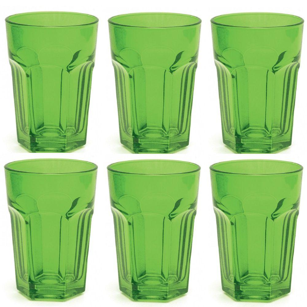 Jogo com 6 Copos Country Long Drink em Vidro Verde 400ml