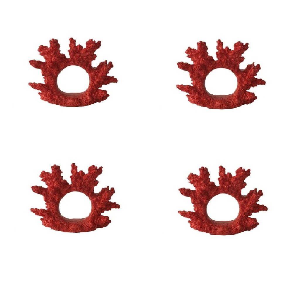 Jogo de 4 Peças de Anel para Guardanapos Coral Vermelho