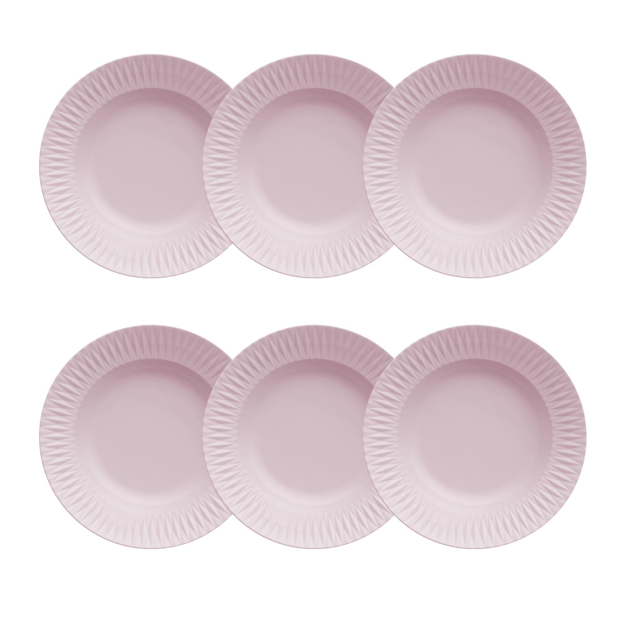 Jogo de 6 Pratos Fundos 23cm Rosa Fractal Diamante Germer Porcelanas