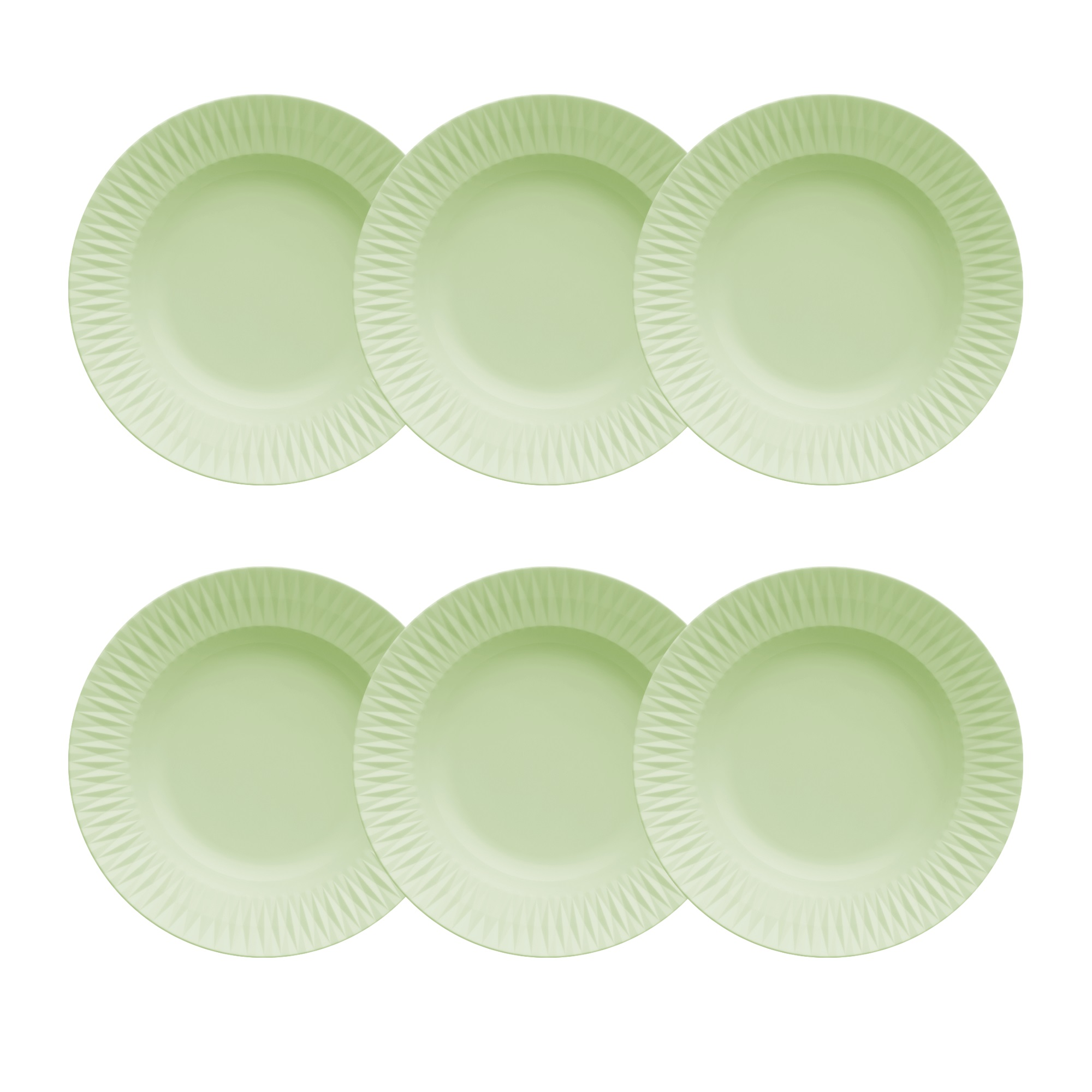 Jogo de 6 Pratos Fundos 23cm Verde Menta Diamante Germer Porcelanas