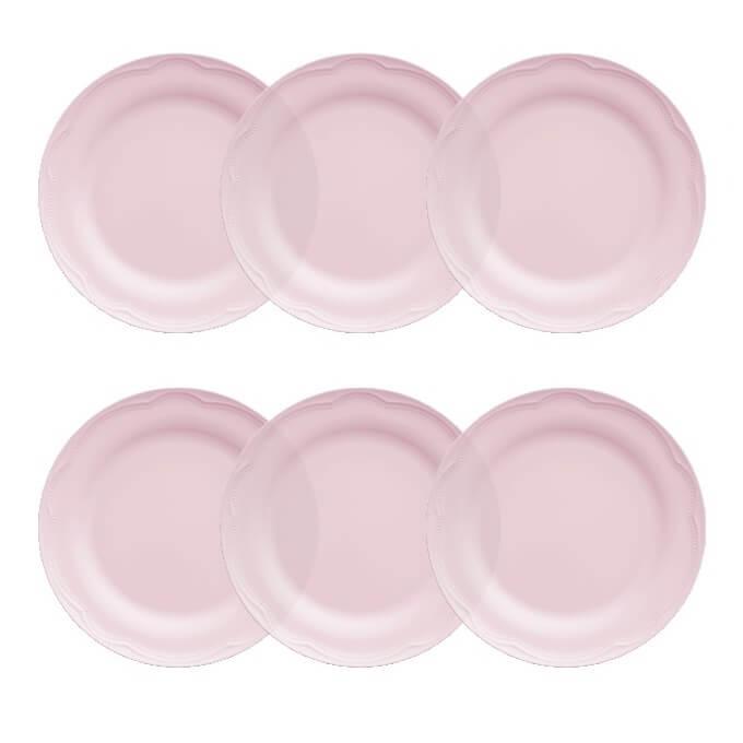 Jogo de 6 Pratos Rasos 26cm Rosa Fractal Cottage Germer Porcelanas