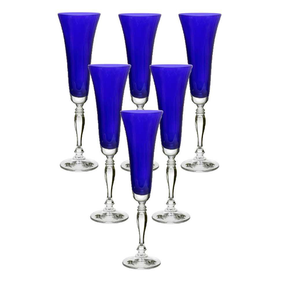 Jogo de 6 Taças de Champanhe Victoria Azul Cobalt de Cristal Ecológico 180ml