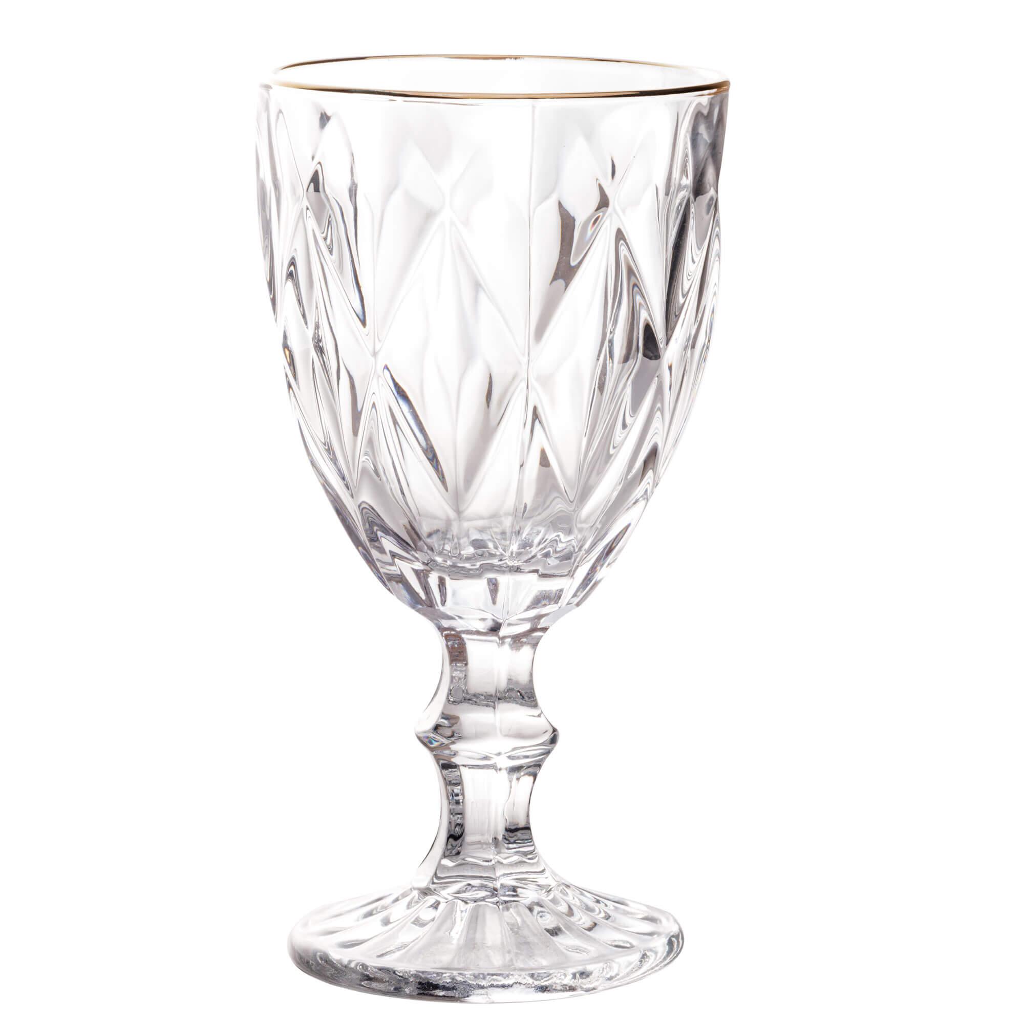 Jogo de 6 Taças para Água de Vidro com Fio de Ouro Diamond Transparente 325ml