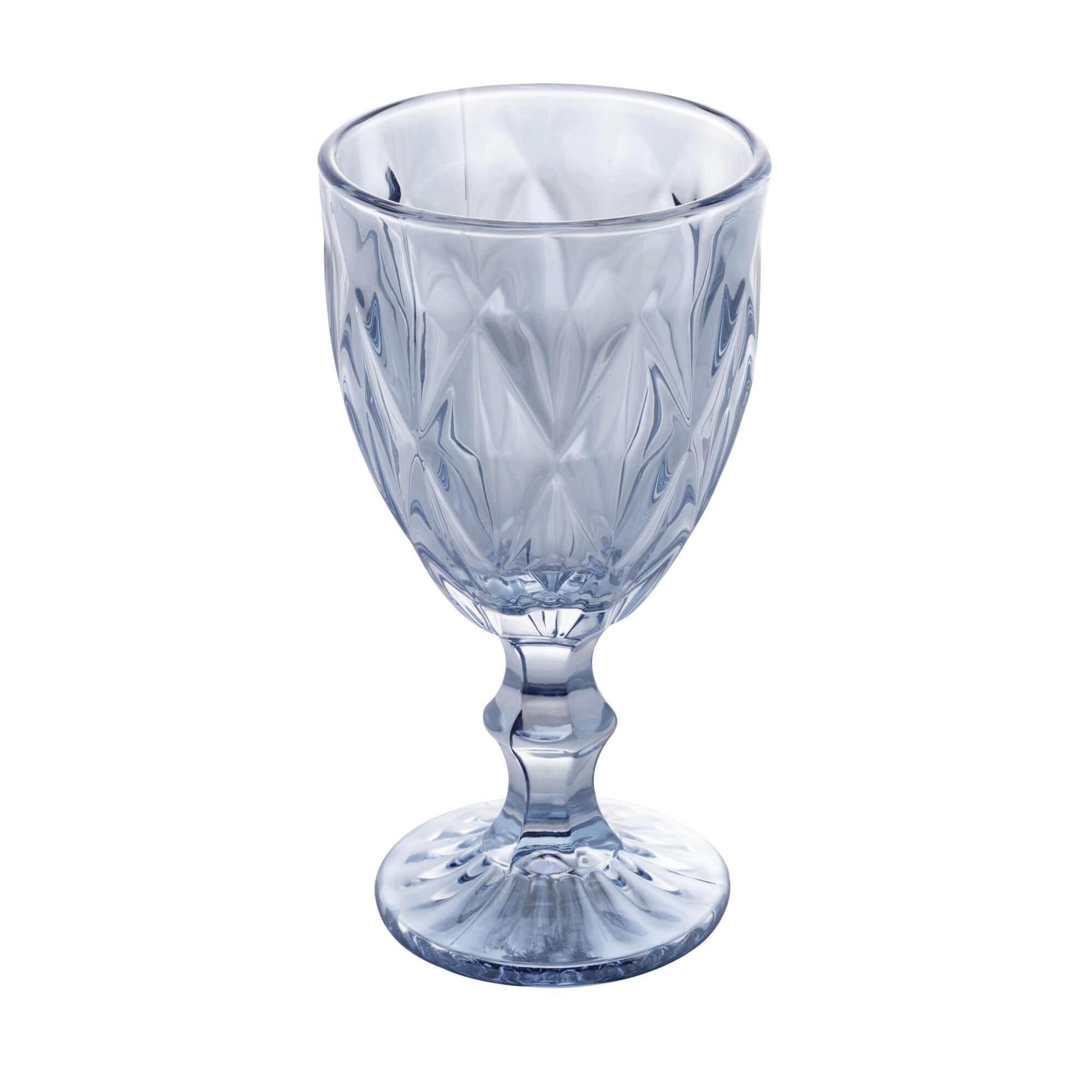 Jogo de 6 Taças para Água de Vidro Diamond Azul Metalizado 325ml