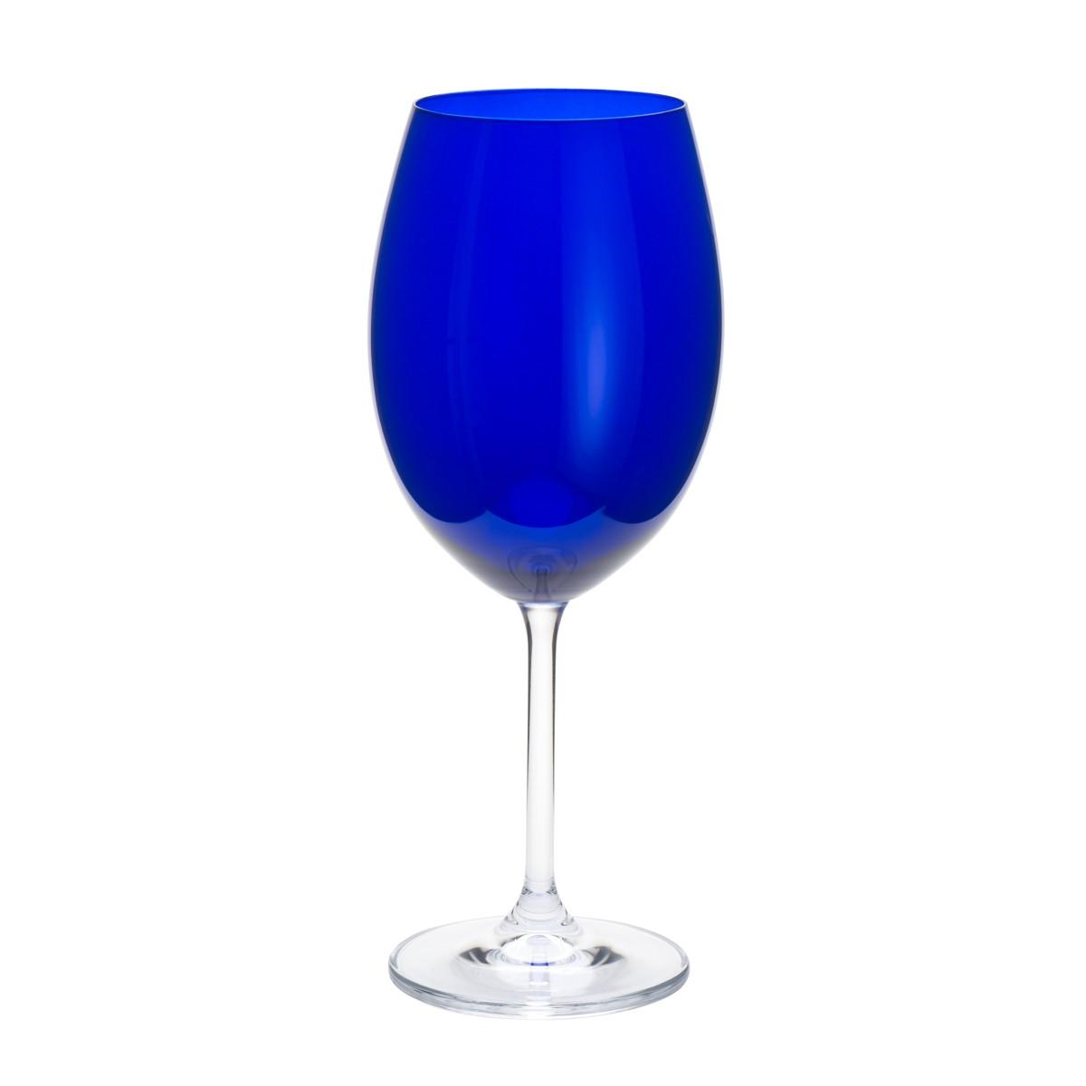 Jogo de 6 Taças para Água em Cristal Bohemia Azul 580ml