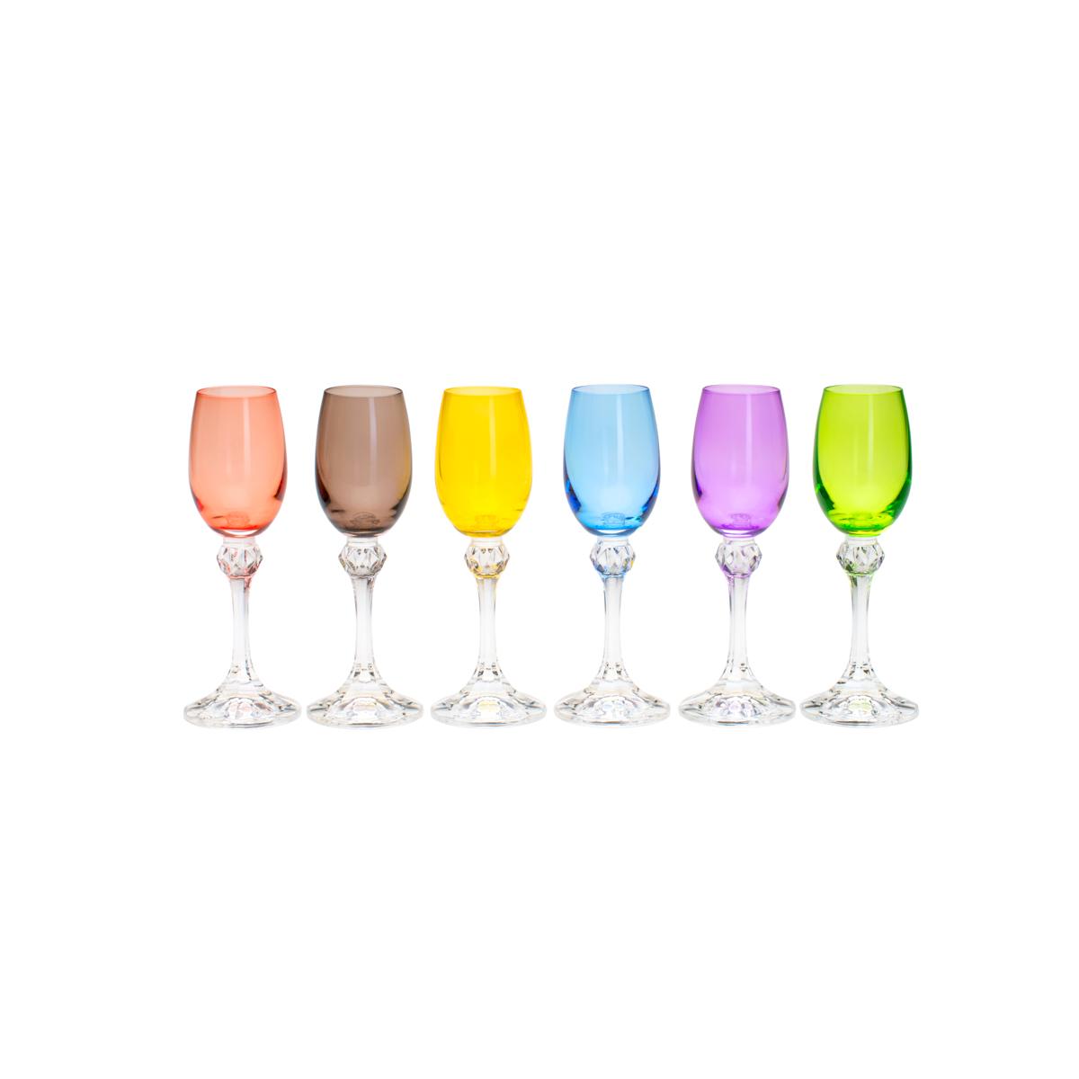 Jogo de 6 Taças para Licor em Cristal Bohemia Elisa Colorida 65ml