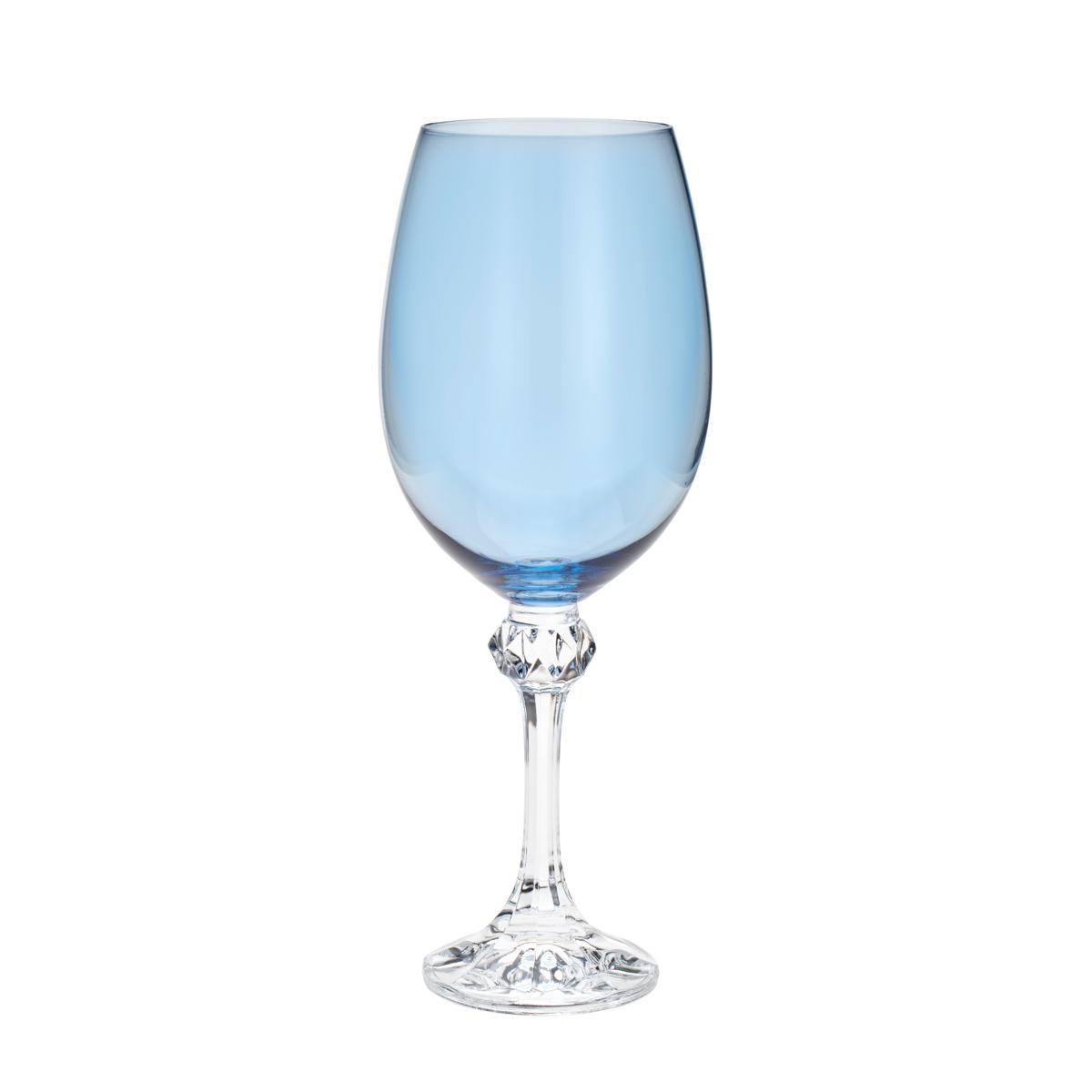 Jogo de 6 Taças para Vinho em Cristal Ecológico Bohemia Elisa Island Paradise Azul 450ml