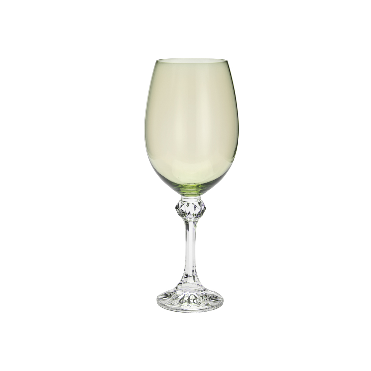 Jogo de 6 Taças para Vinho em Cristal Ecológico Bohemia Elisa Kale Verde 450ml