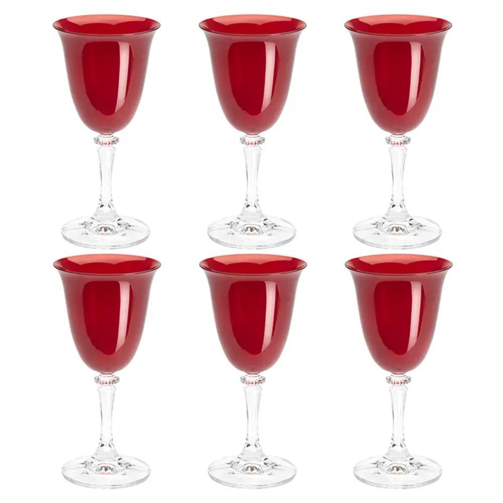 Jogo de 6 Taças para Vinho Tinto em Cristal Bohemia Kleopatra Vermelha  290ml
