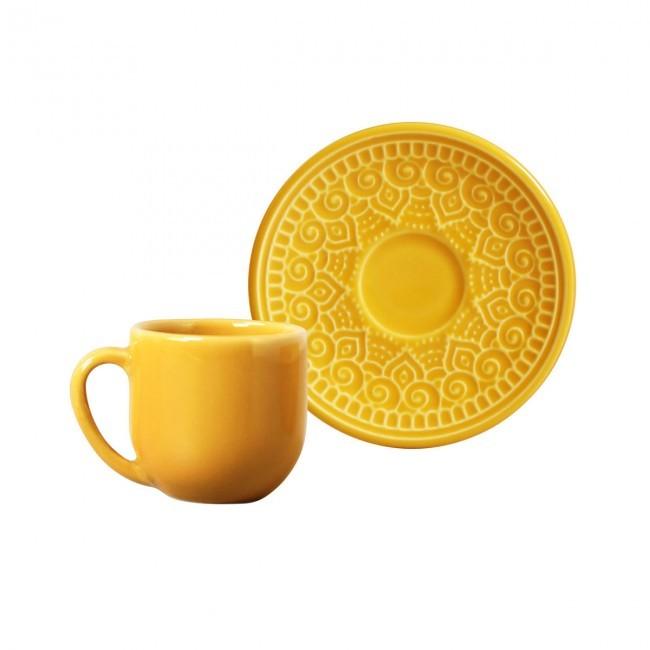 Jogo de 6 Xícaras de Café com Pires 112ml Agra Mostarda Porto Brasil