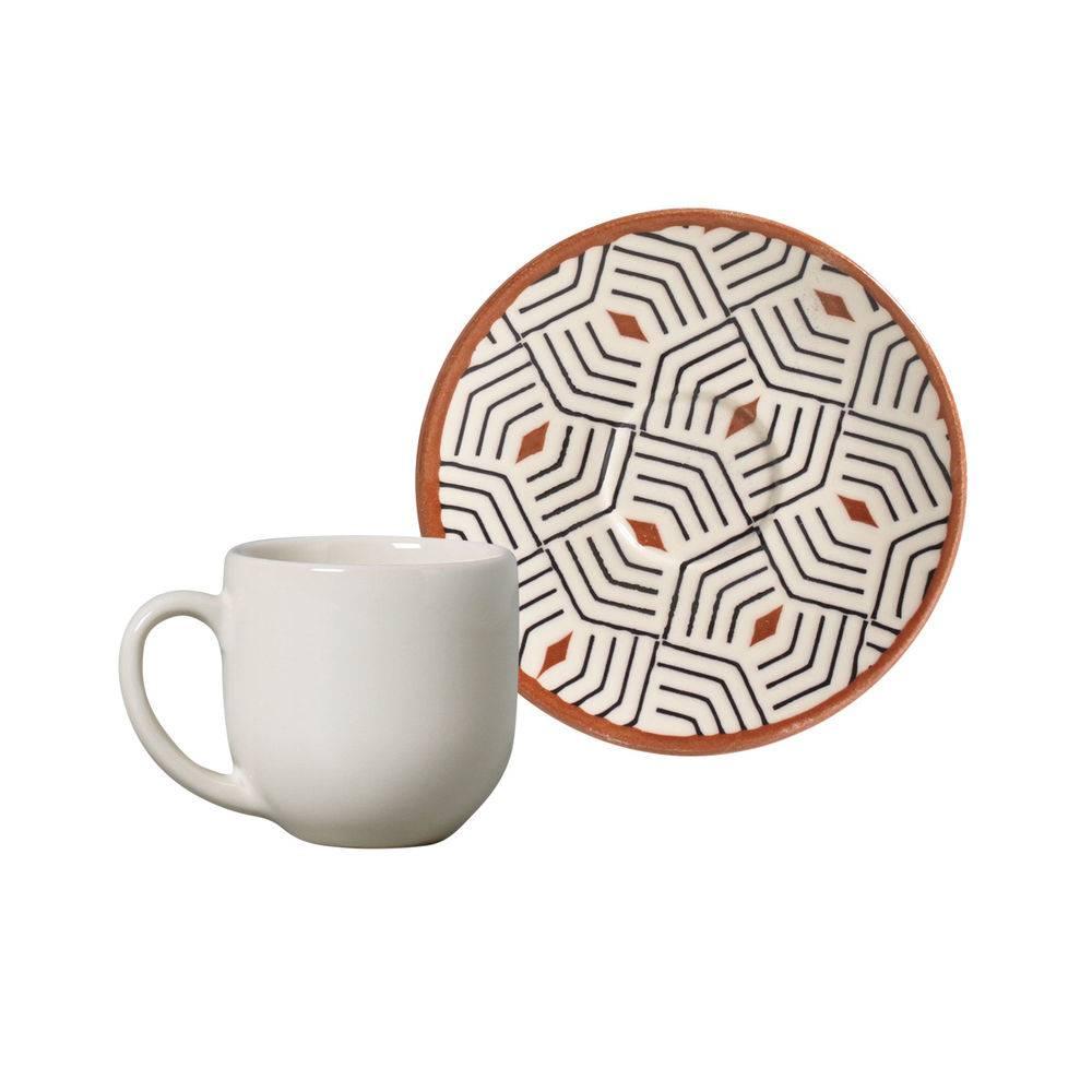 Jogo de 6 Xícaras de Café com Pires 112ml - Coup Geometria